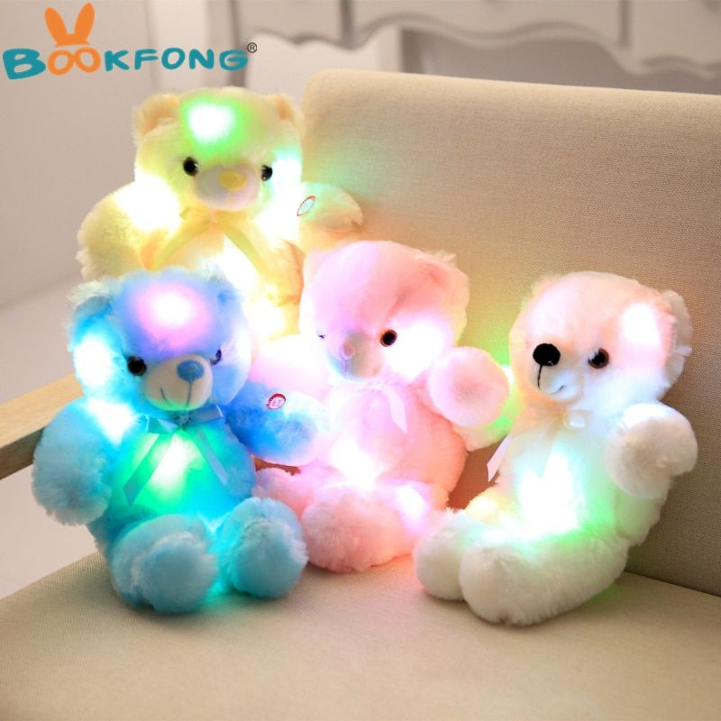 BOOKFONG 30cm Romantic Colorful Flash Light up LED Teddy Bear Plush Toy Doll Kids Toys Children Christmas Birthday Decoration