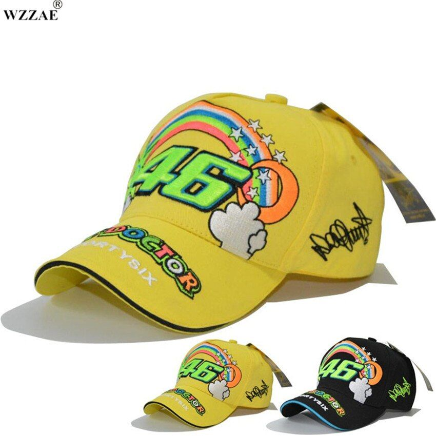 WZZAE 2017 New F1 Race Cap Car Motocycle Racing MOTO GP VR 46 Rossi Signature Embroidery Brand Hiphop Mesh Trucker Baseball Caps