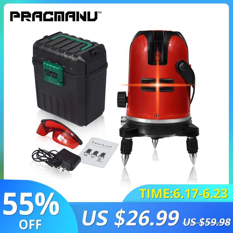 PRACMANU 5 lignes 6 Points niveau Laser automatique auto-nivelant 360 degrés d'inclinaison verticale et horizontale rotatif LD 650nm Mode extérieur