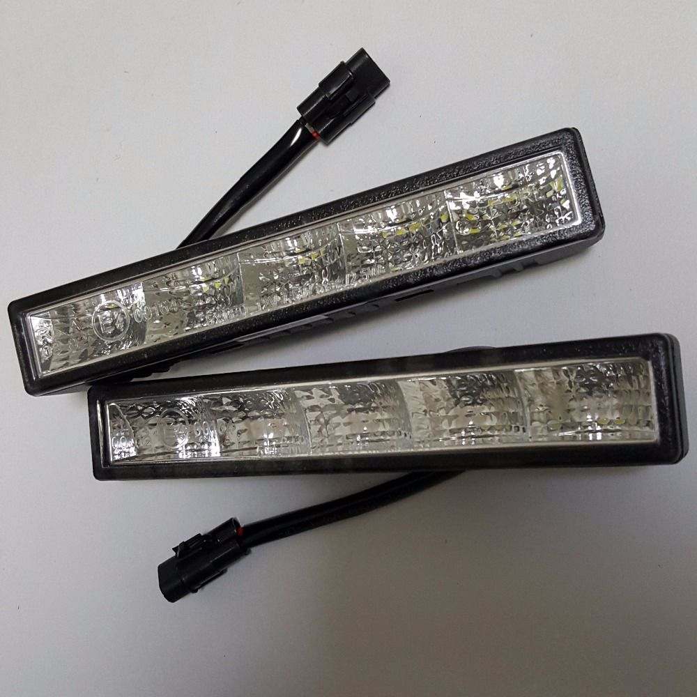CNLM High quality 2 pcs car drl Daytime Running Light front daylight 5 LED fog lamp waterproof dimmer flash E4 R87 ECE RL00