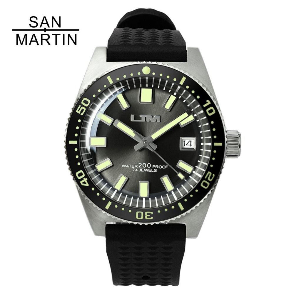 San Martin 62MAS Men Automatic Watch Stainless Steel diving Watch 200m Water Resistant Full Luminous Bezel Relojes Hombre 2018