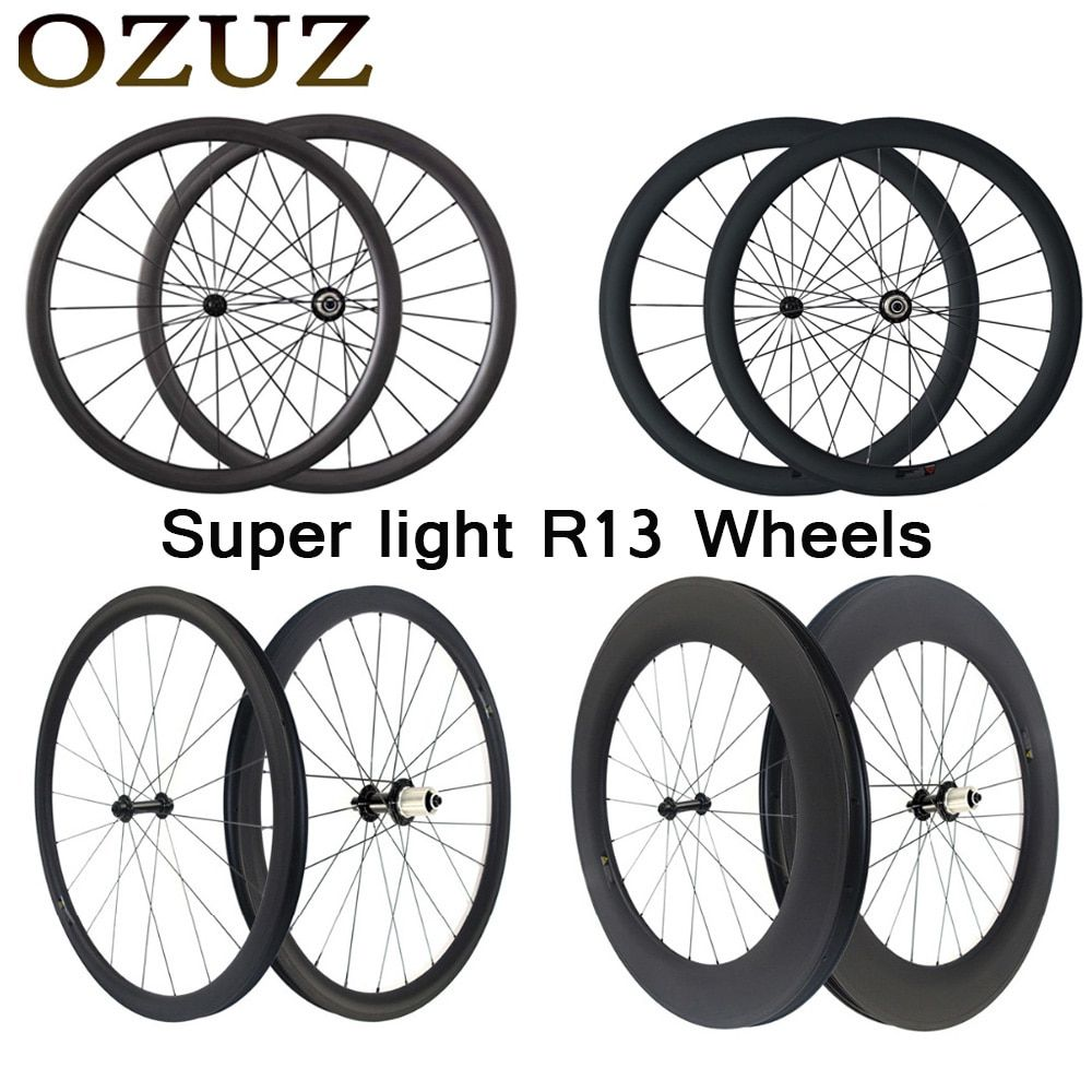 ultra light 24mm 38mm 50mm 88mm carbon road wheels 23mm width clincher tubular 3k wheelset 700c fixed powerway r13 Tax include