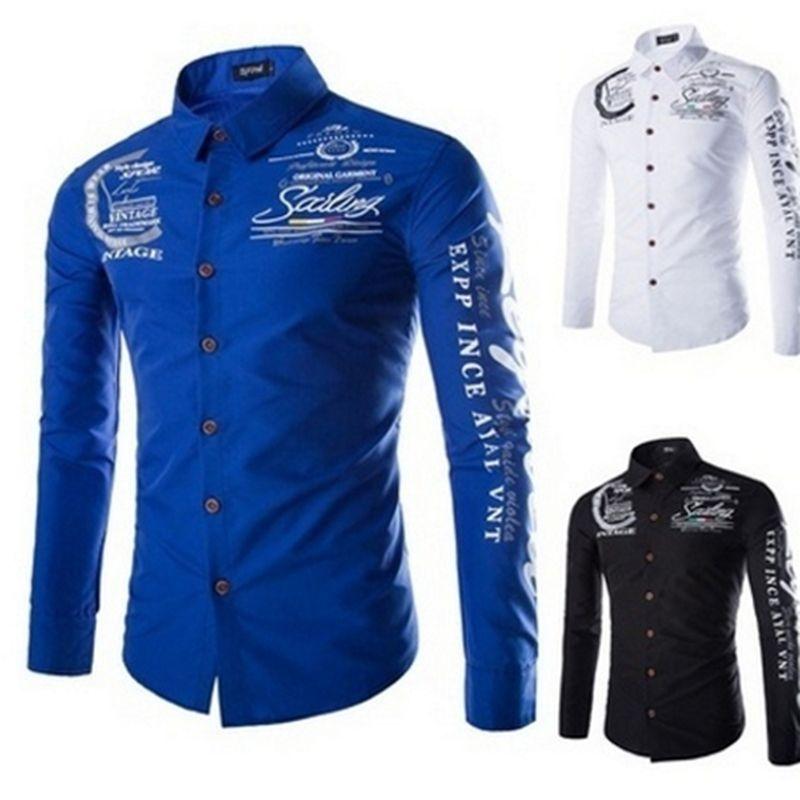 2017 New Golf Shirt Men Print Turn-Down Collar Shirts Long Sleeve Slim Male Man Single Breasted Shirts Tops S-5XL DP900760