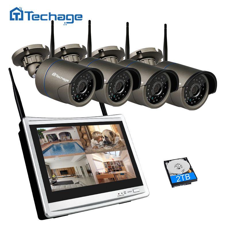 Techage Auto Pair 4CH 1080P Wireless CCTV System 12