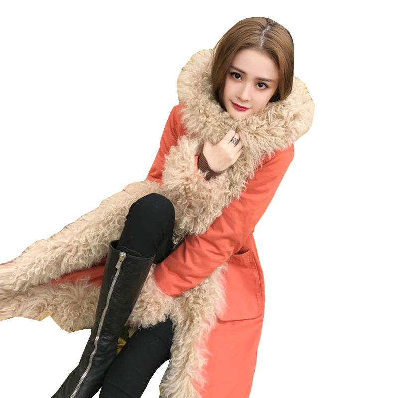 Winter Womens Plus size Beach Wool Down Jackets Long Coat 2018New High quality Warm Thick Parkas Female Hooded Loose Overcoat309