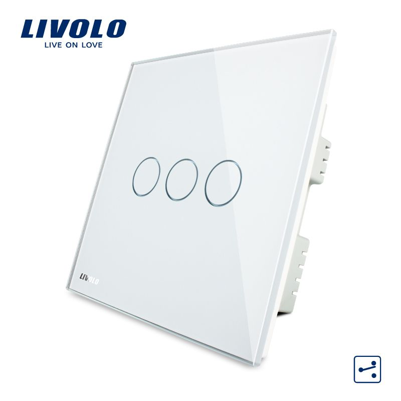 Livolo Wandschalter, weiß Kristallglas-verkleidung, AC 220-250 V VL-C303S-61, 3 Banden 2Way, Home Touchscreen Licht UK Schalter