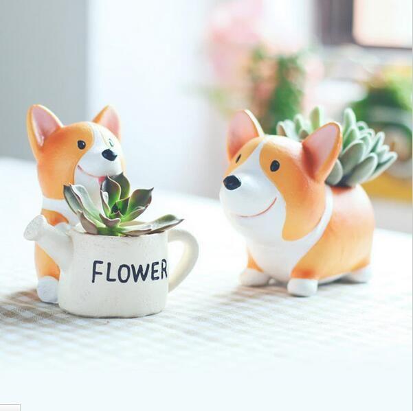 Pot de fleurs en résine créative Kawaii Corgi Pots de Jardin jardinières Jardin bonsaï bureau Succulent Pot de fleur peut mélanger commande livraison directe