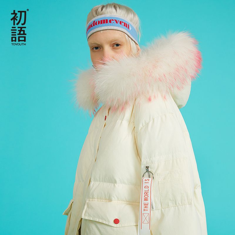 Toyouth Ente Unten Puffer Mäntel Gute Qualität Damen Unten Mantel Verdickung Damen Langen Mantel Harajuku Zip Hoodies Outwear 2018