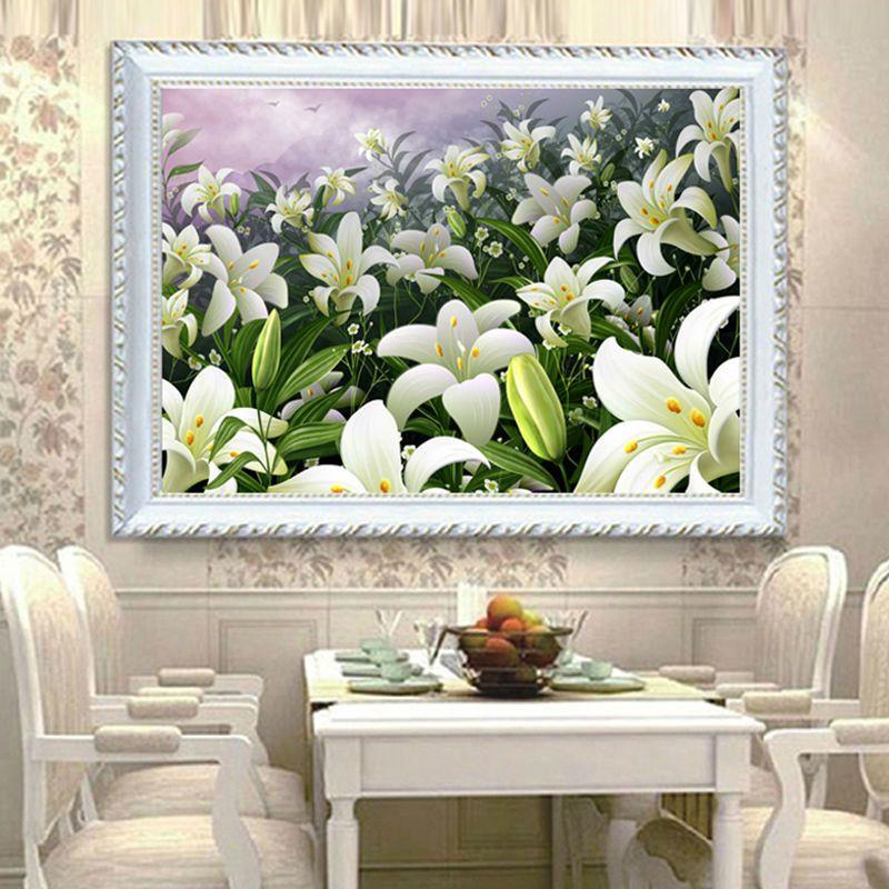 5D DIY Вышивка с кристаллами цветы лилии Алмазный Вышивка Ресторан украшением кристаллами и круглым Алмазная мозаика картина