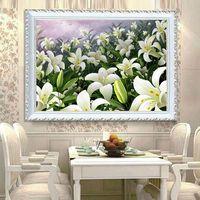 5D DIY алмазная живопись вышивка крестиком лилии цветы алмазная вышивка украшение для ресторана Кристалл Круглый Алмазная мозаика картина