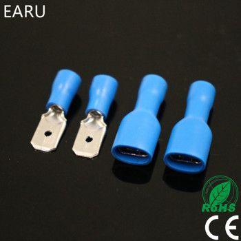 100 pcs 50 paires 6.3mm 16-14AWG Femelle Mâle Électrique Câblage Connecteur Isolé Crimp Terminal Spade Bleu FDFD2-250 MDD2-250