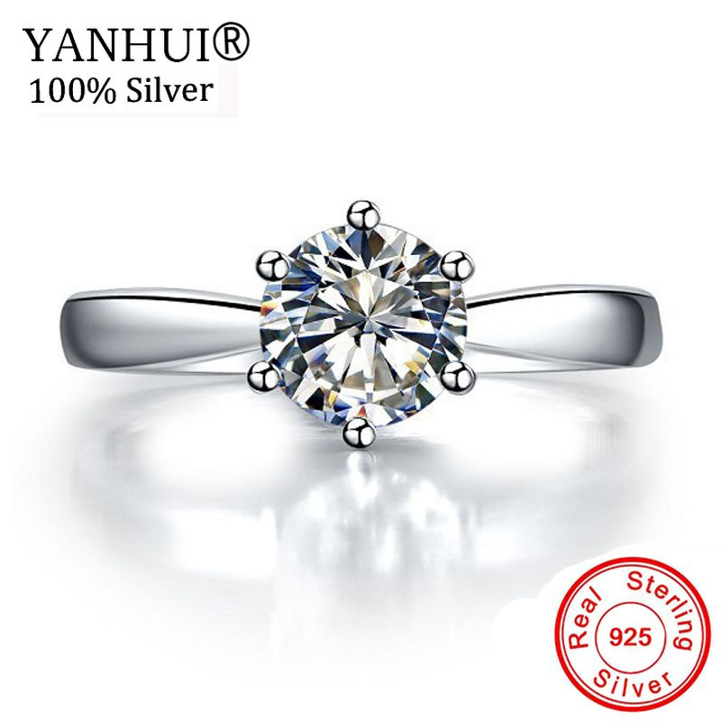 Lost Money 99% OFF! Original 925 Solid Silver Rings Solitaire 1 Carat CZ Diamant Wedding Rings for Women Fine Jewelry HNR003