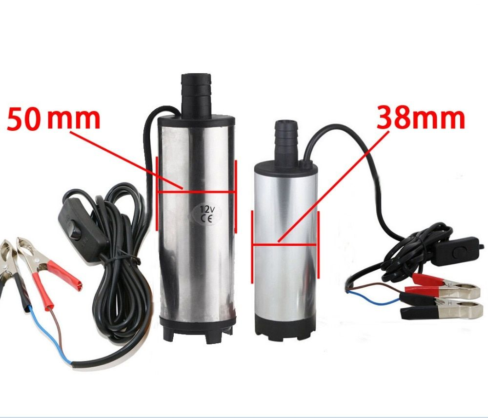 50 mm DC 12V / 24V Water Oil Diesel Fuel <font><b>Transfer</b></font> Pump Submersible Pumps Car Camping fishing Submersible Switch Stainless Steel