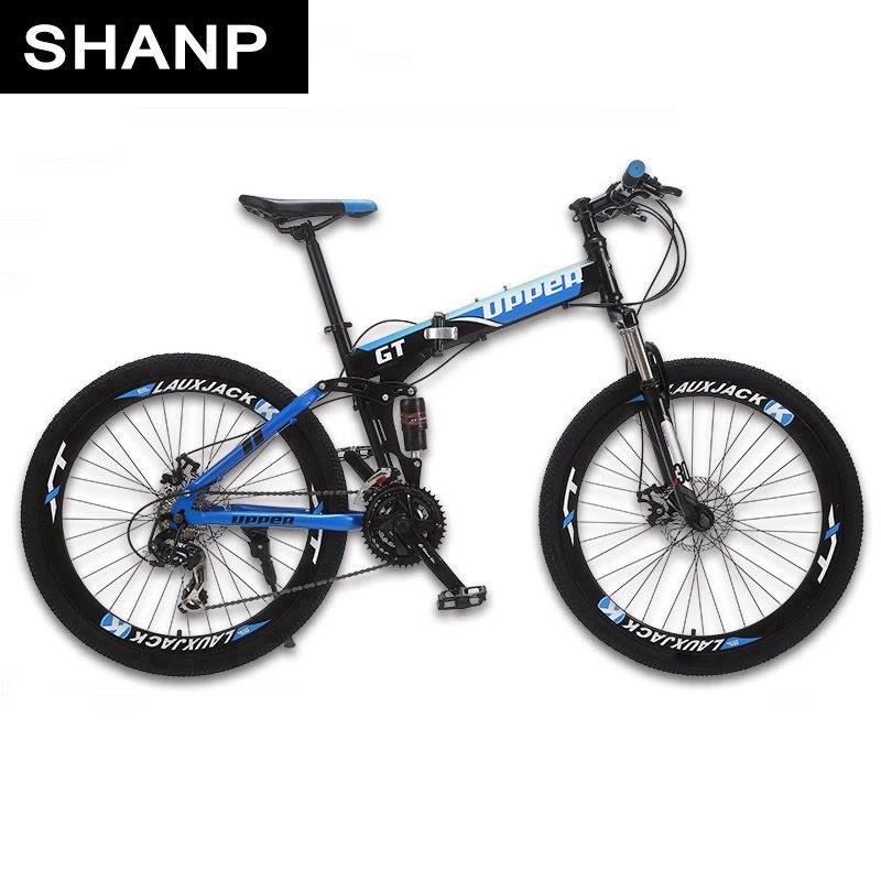 GT-UPPER Mountain Bike Foldable Steel Frame Mechanical Disc Brake 24 Speed Shimano 26