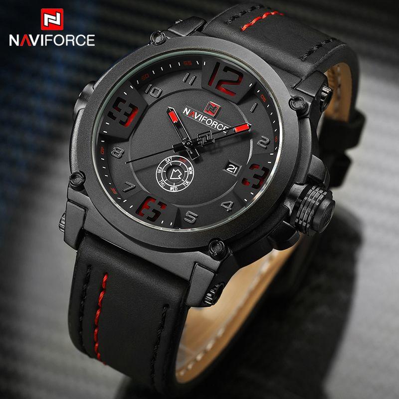 Montres pour hommes NAVIFORCE Top marque de luxe hommes en cuir analogique Quartz Date horloge homme étanche sport armée militaire montre-bracelet