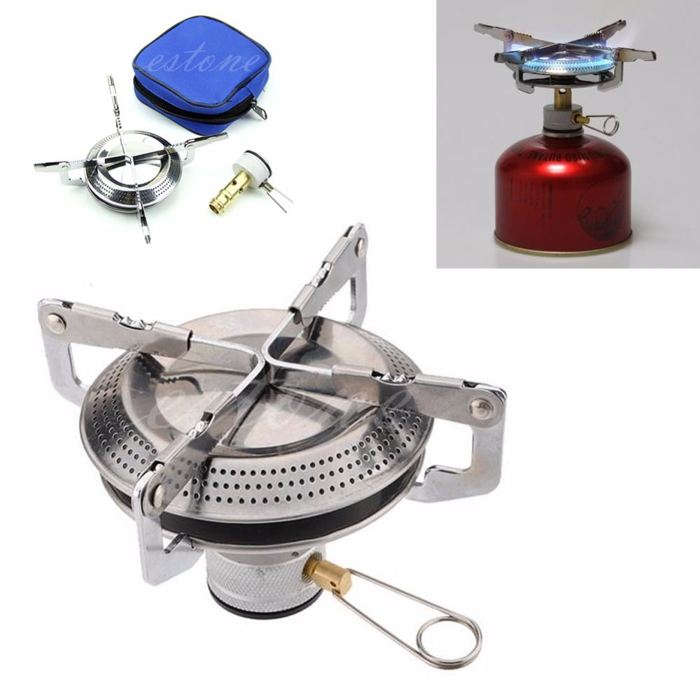Outdoor Stainless Steel Gas Stove  Picnic Camp Backpacking Case Hiking BBQ W20