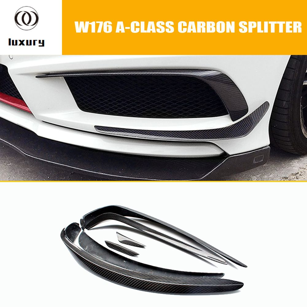 W176 Carbon Fiber Front Bumper Seite Canards Splitter Spoiler für Mercedes Benz W176 A180 A200 A260 A45 AMG Sport Stoßstange 13-15