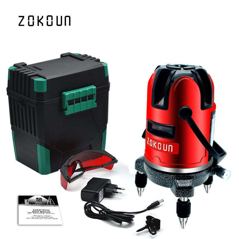 EU plug red 5 lines 6 points self-leveling 360 rotary cross line laser <font><b>level</b></font> tilt slash and detector outdoor mode available