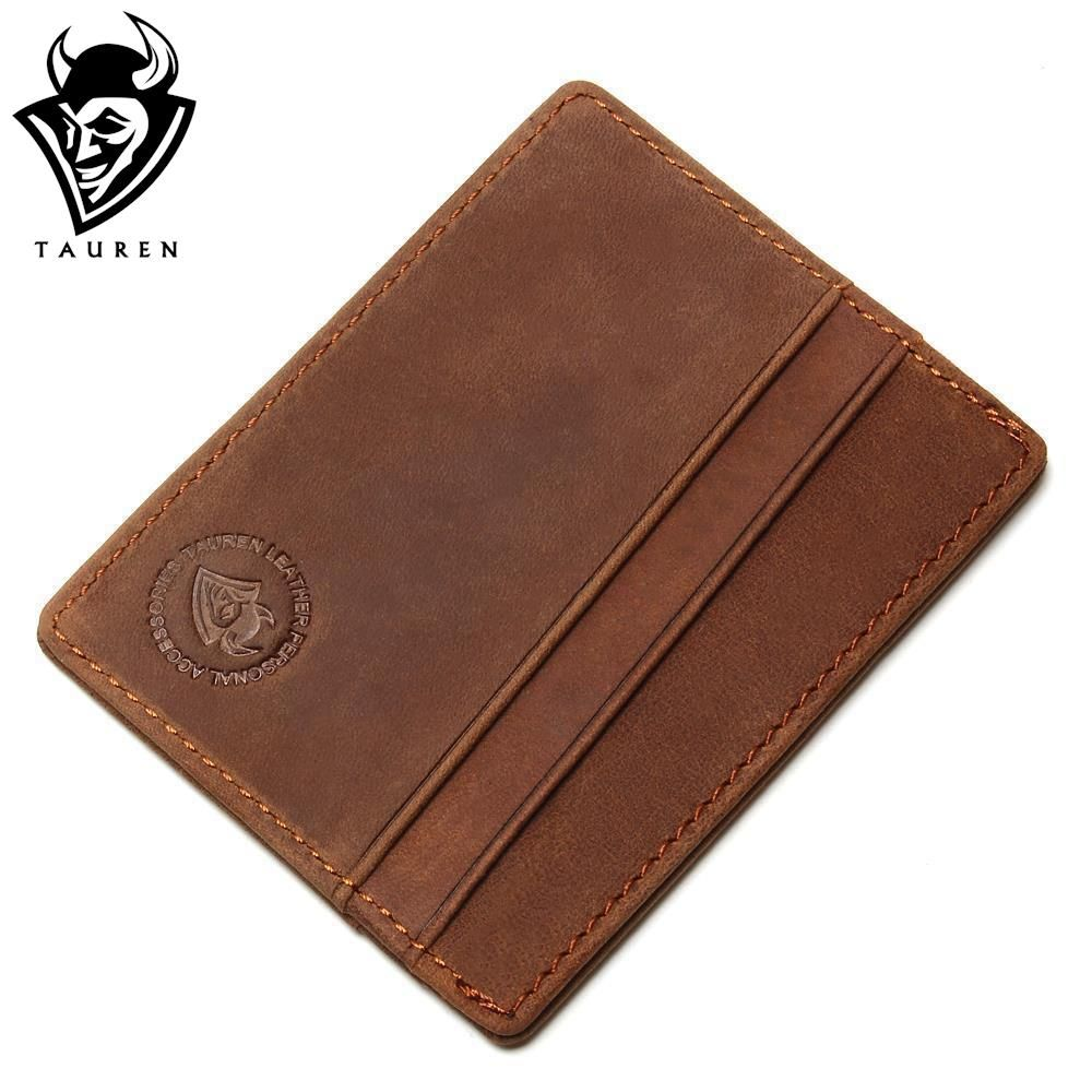2018 Travel RFID Wallet Card Holder Vintage 100% Genuine Leather Porte Carte Front Pocket Slim Card Wallet Credit Card Holder