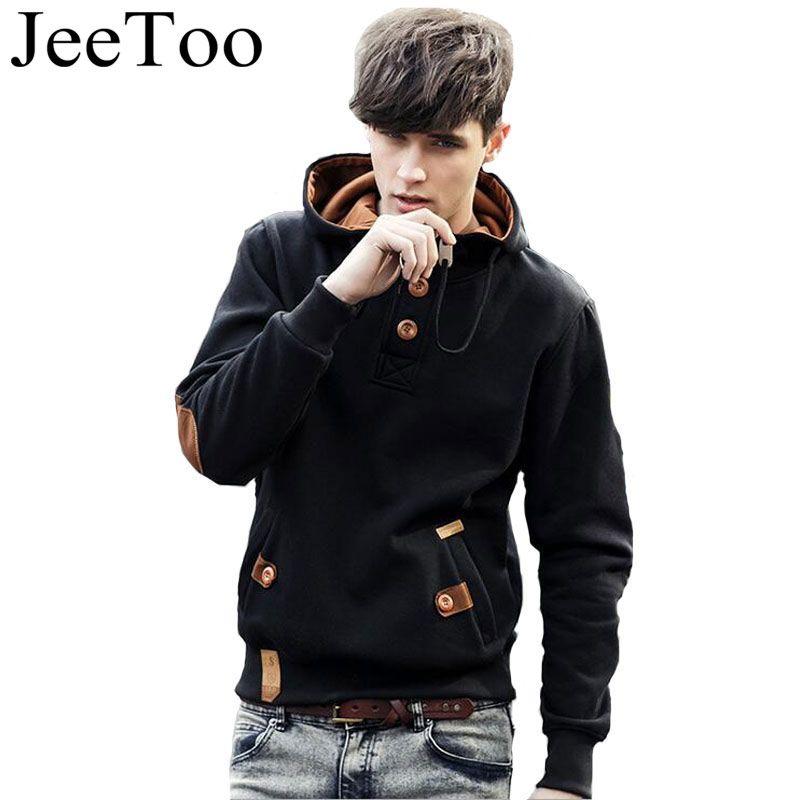 JeeToo Men Hoodies 2018 Casual Hoodies Men Fleece Fashion Hip Hop Warm Hoody Polo Mens Hoody Jacket Sweatshirt Mens Sweat Homme