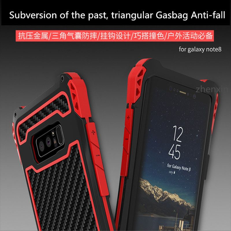 For Samsung Galaxy note 8 Case Cover R-JUST Shockproof Carbon Fiber Aluminum Metal Armor Case