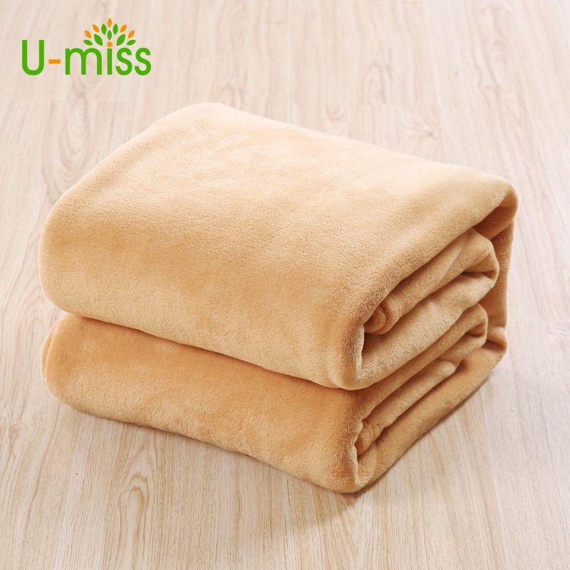 U-miss canapé/Air/literie jeter couvertures solide Double voyage flanelle en peluche chine canapé couverture sur le lit 11 couleurs Textile à la maison