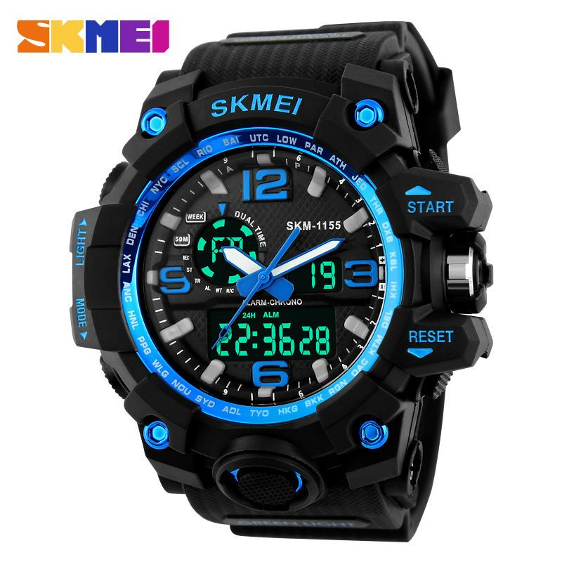 SKMEI Large Dial Shock Outdoor Sports Watches Men Digital LED 50M Waterproof Military Army Watch <font><b>Alarm</b></font> Chrono Wristwatches 1155