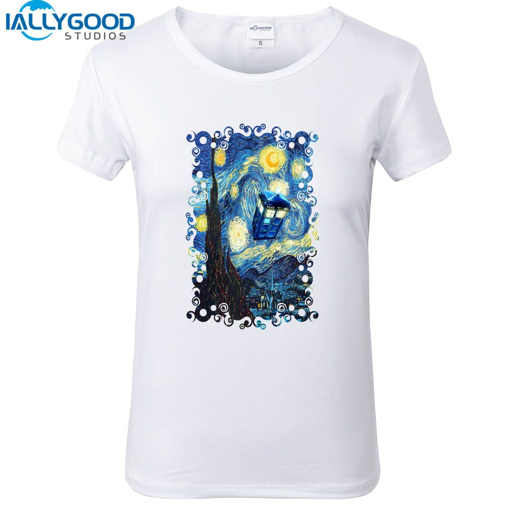 New Funny Doctor who Design Women T-shirts Blue Phone booth starry the night Printed Short Sleeve Soft Cotton White Tops S1350