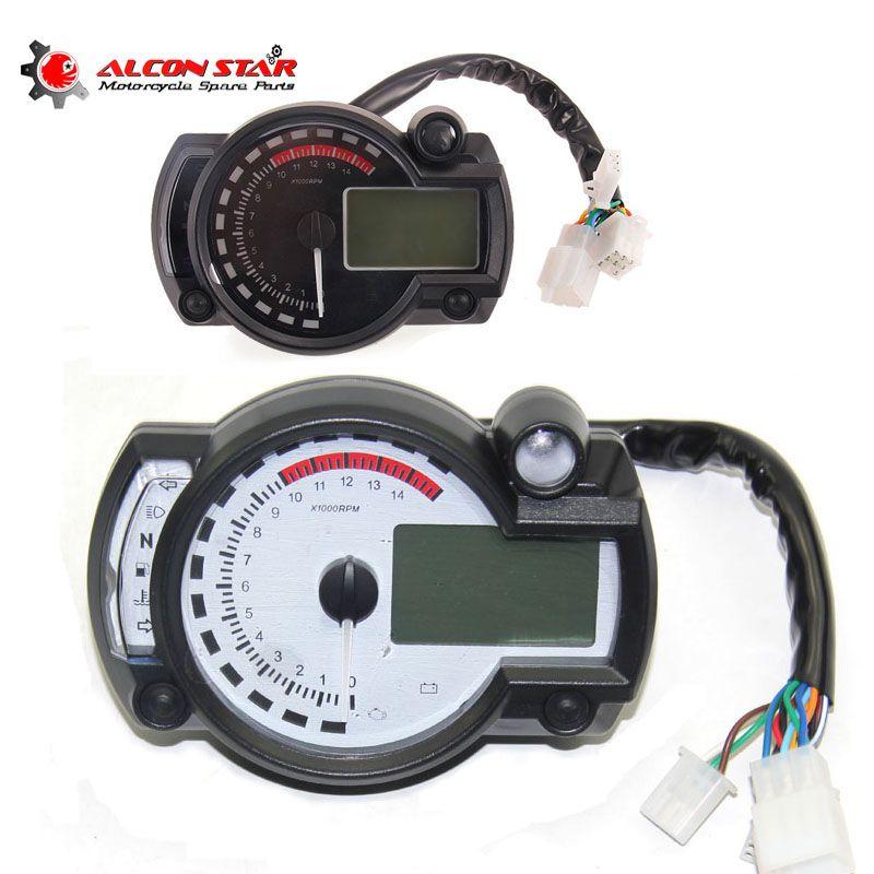 Alconstar- Adjustable Motorcycle speedometer LCD digital Odometer motorbike speedometer Universal all motorcycle MAX 299KM/H