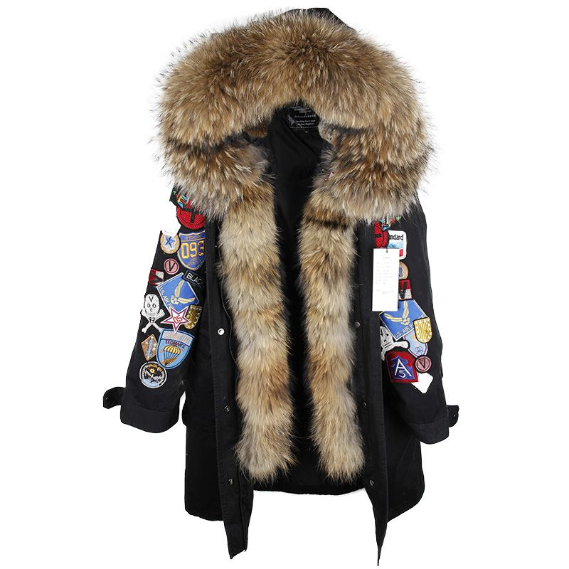 2018 new fashion XX-Long Embroidery Large real Fur Hooded Parkas Coat big natural Fur women Military down jackets