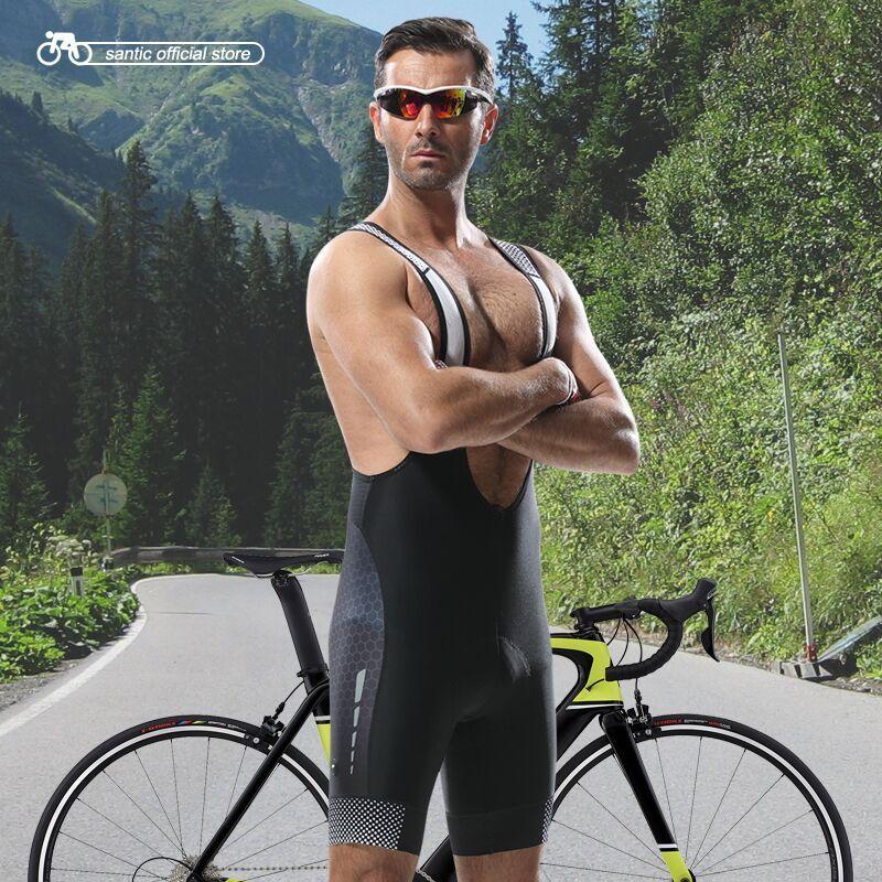 Santic Cycling Bib Shorts Men Cycling Jersey Bib Shorts Wicking Shorts Shock Proof Cushion Pad New Breathable S-XXXL 5050/5095