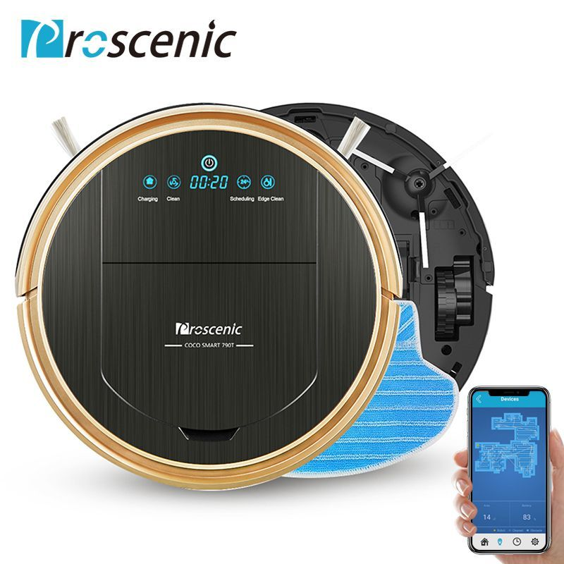 Proscenic 790T Robot Vacuum Cleaner Max Power Suction with App Control Self-Charging Robot Vacuum for Home