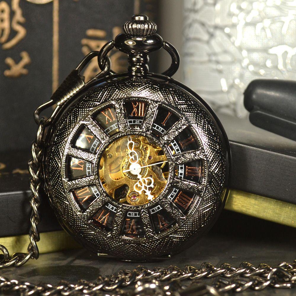 TIEDAN Noir Steampunk Squelette Montre De Poche Mécanique Hommes Antique Marque De Luxe Collier de Poche & Fob Montres Chaîne Mâle Horloge