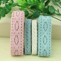5 yard lot woven cotton lace trim DIY sewing curtain craft decoration baby blue baby pink cotton trim lace ribbon