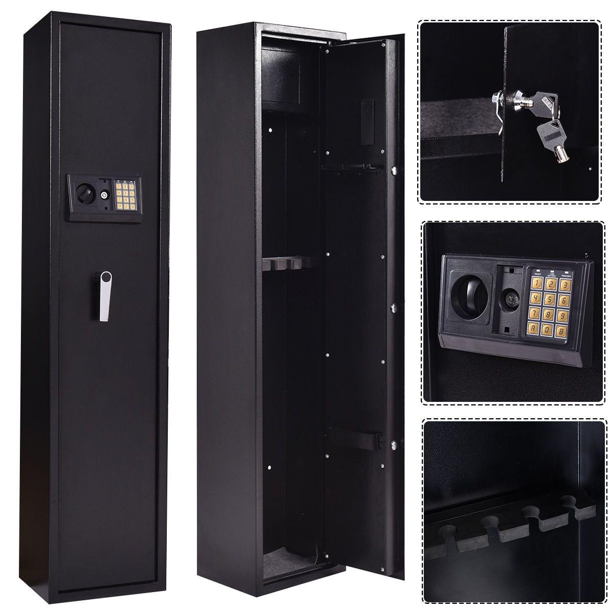 Giantex New 5 Rifle Electronic Lock Gun Storage Safe Cabinet Modern Steel Digital Security Safe Lockbox Gun Case HW53780