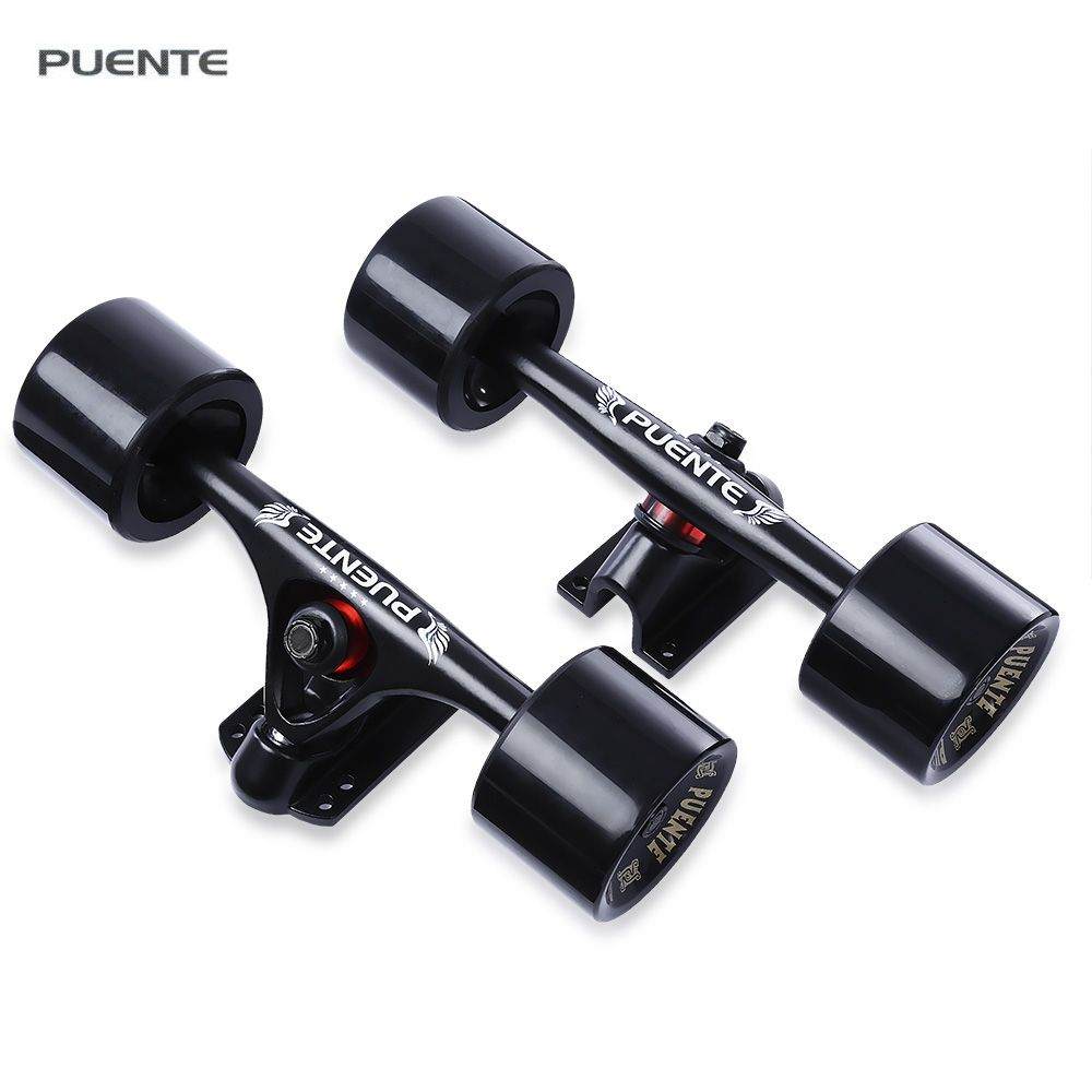 PUENTE 2pcs 7 inch Skateboard Truck with Wheel Suit for Longboard Cruiser Skateboard Universal Durable Magnesium Alloy