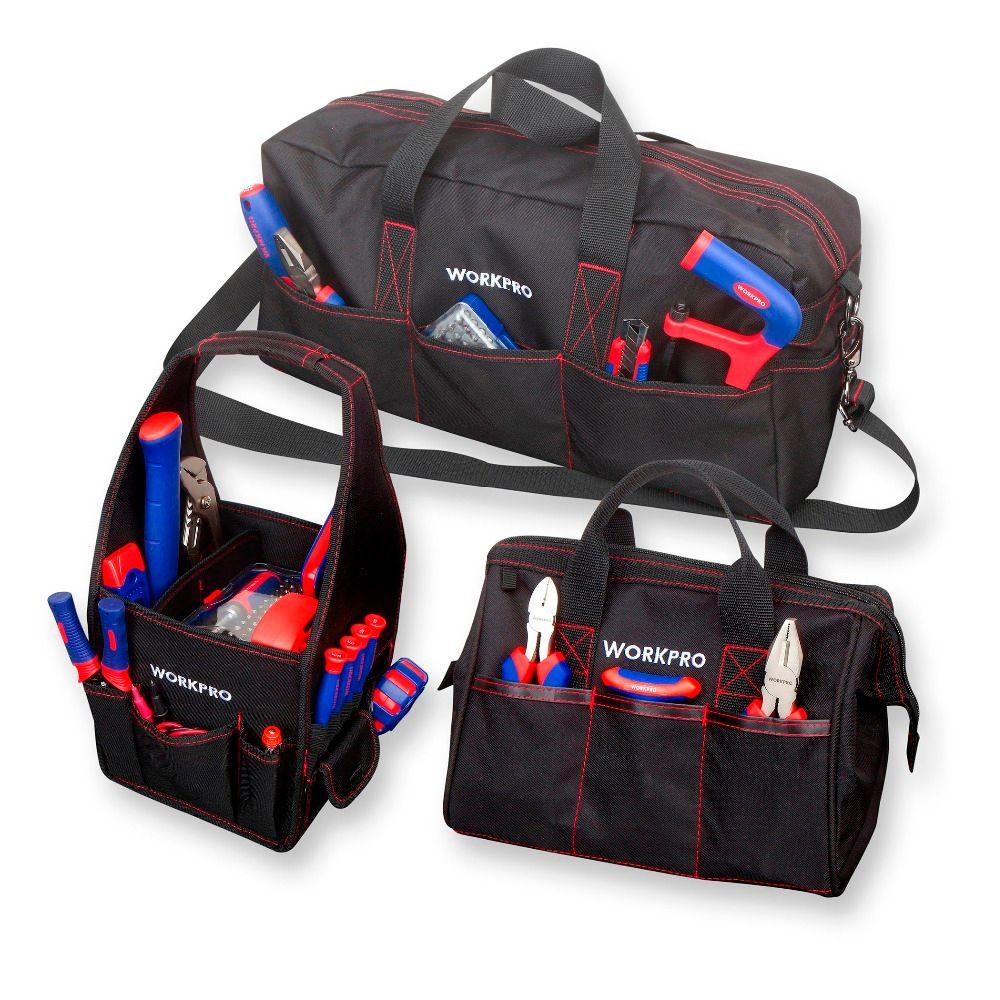 WORKPRO sac à outils Durable Combo 2PC sacs à main 1PC sac à bandoulière 8