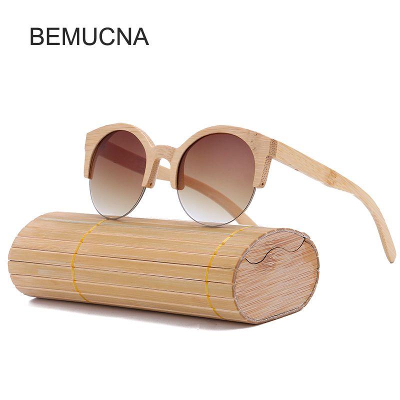 2017 New BEMUCNA Cat Eye Sunglasses Women Brand Designer Semi-Rimless Wood Sunglasses Men Bamboo Sun Glasses For Men UV400