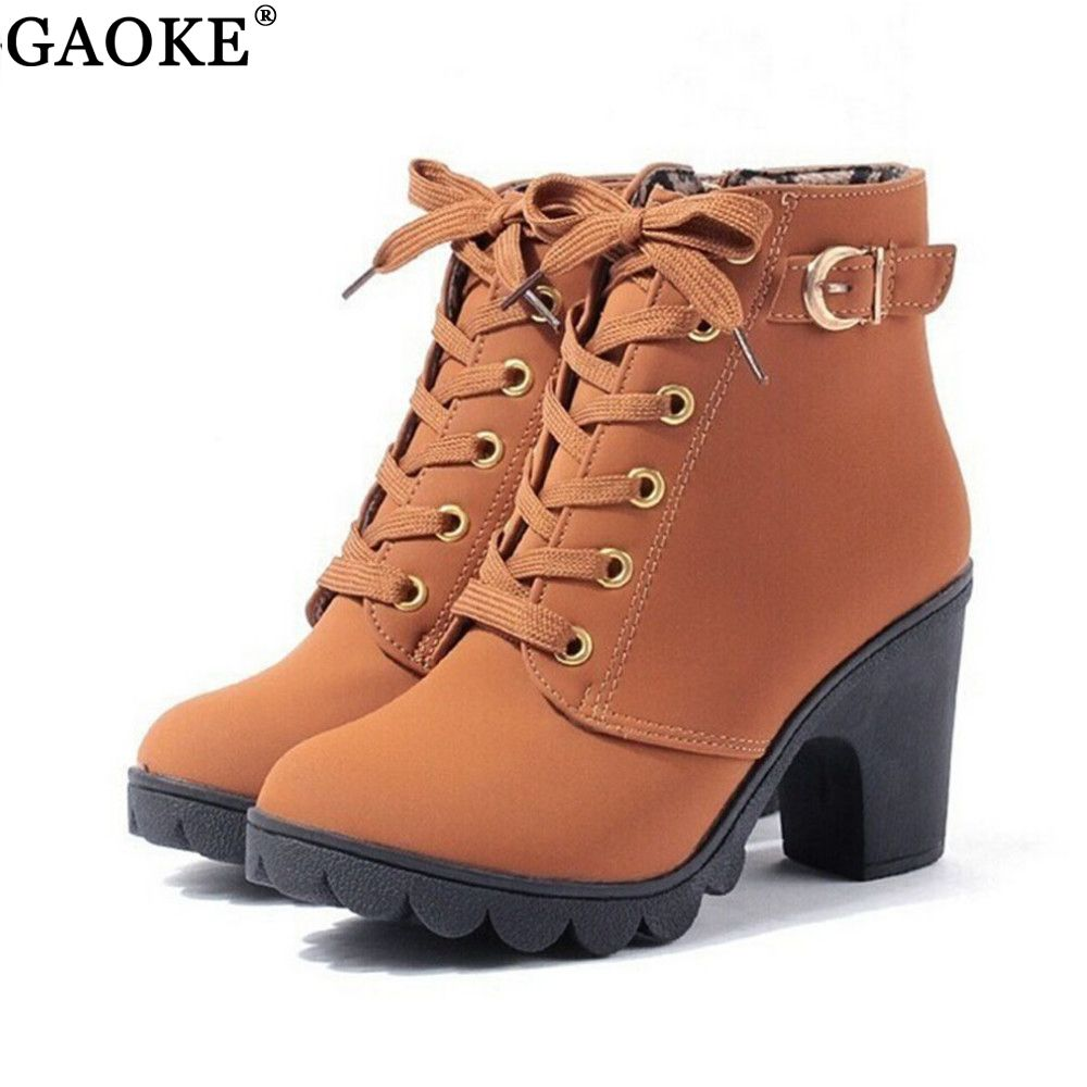 2018 New Autumn Winter Women Boots High Quality Solid Lace-up European Ladies shoes PU Leather Fashion Boots Free Shipping
