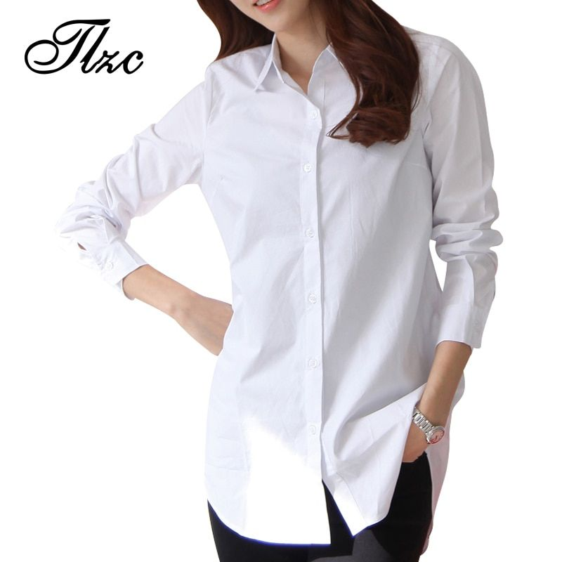 Automne Printemps Femmes Long Blanc Chemises Taille S-3XL Tout-Allumette Bonne Qualité À Manches Longues Lady Casual Coton Blouse & Tops