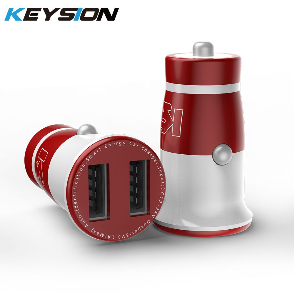 KEYSION Mini 3.1A USB Car Charger Dual Mobile Phone Fast Charger Tablet Car-Charger For iPhone XS Max XR X 8 7 6Plus for Xiaomi