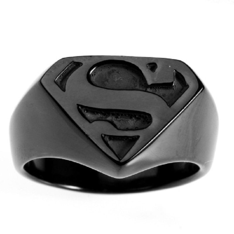 НОВЫЙ Cool Черный Для мужчин Супермен супергероя символ 316L Кольца из нержавейки