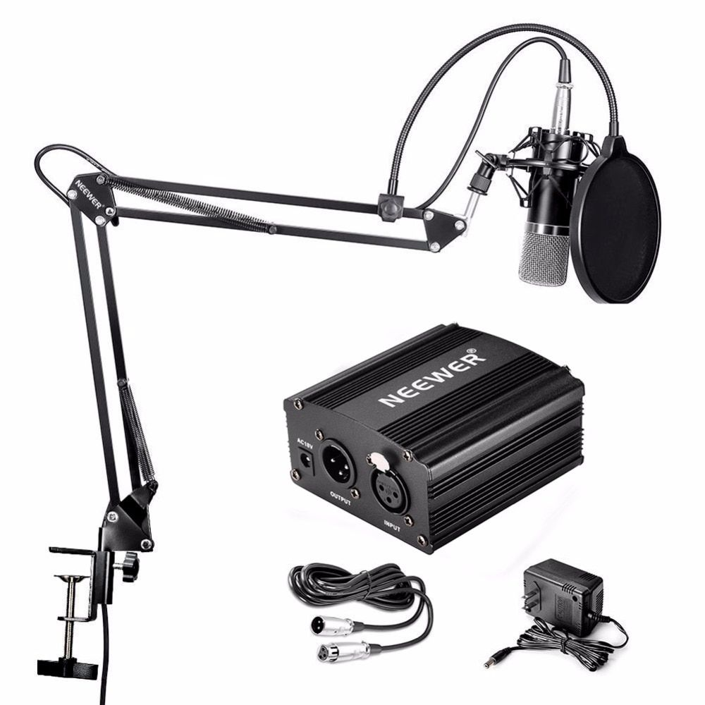 Neewer NW-700 Condenser Microphone & NW-35 Scissor Arm Stand XLR Cable and <font><b>Mounting</b></font> Clamp & NW-3 Pop Filter Phantom Adapter Kit