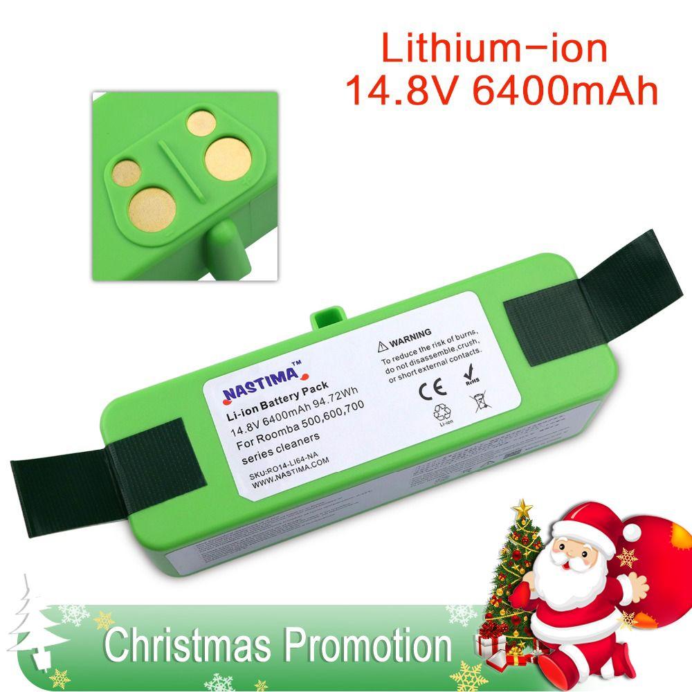 NASTIMA 14.8v 6400mAh Lithium Battery For iRobot Roomba Cleaner 500, 600, 700, 800, 980 Series -600 620 650 700 770 780 800 880