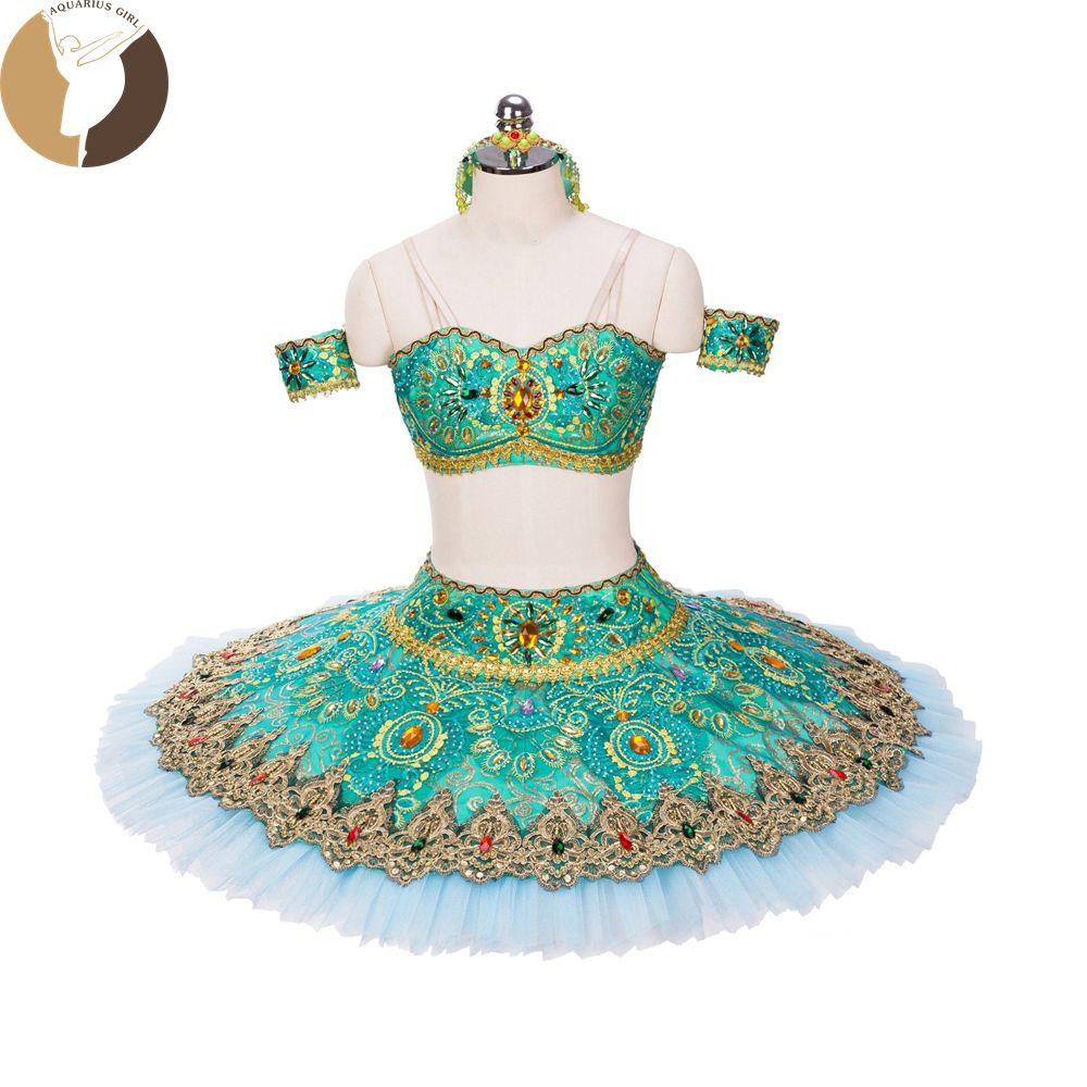 Zwei Stück Ballett-tutu Professionelle Platter Arabischen Stil Grün Kleid 11 Schichten Tulles Erwachsene Klassische Ballett Kostüme Verkauf