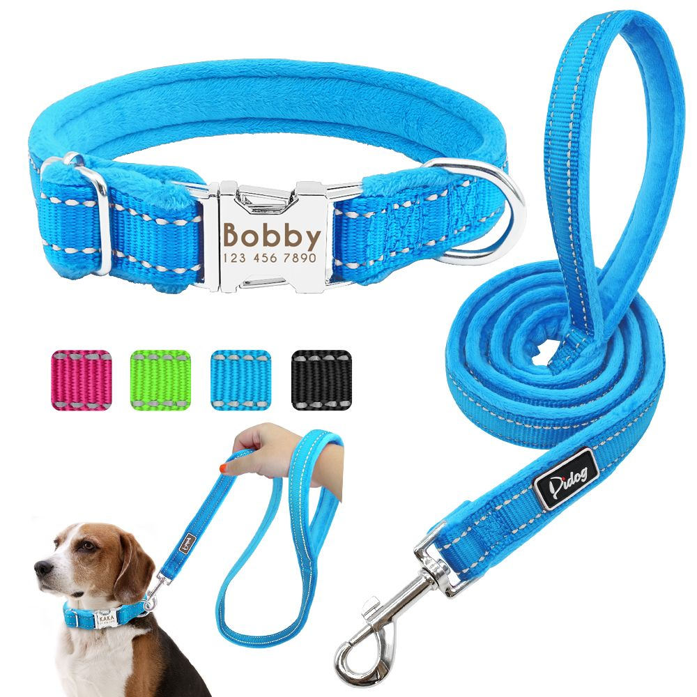 Dog Collar Leash Set Personalized Soft Reflective Dogs Collars Lead Padded for Small Medium Large Dogs French Bulldog Pitbull