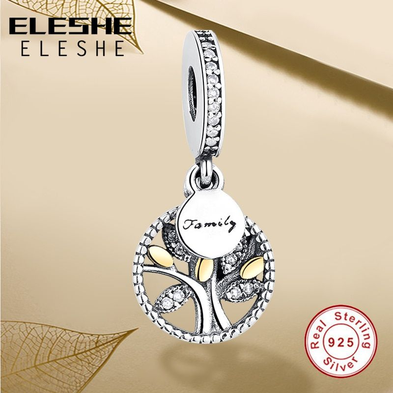Luxe 925 en argent Sterling arbre généalogique avec zircon cubique perle breloques ajustement Original Pandora bracelet à breloques bricolage bijoux authentiques