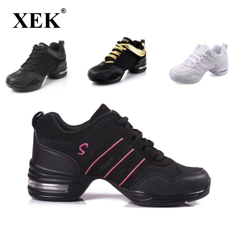 2018 Sports Feature Soft Outsole Breath Dance Shoes Sneakers For Woman <font><b>Practice</b></font> Shoes Modern Dance Jazz Spring sneaker free gift