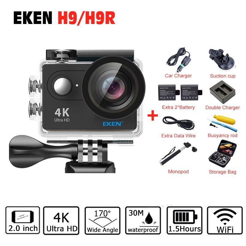 4 К EKEN H9 h9r действие Камера 2017 4 К/25fps 1080 P 60fps 2.0 ЖК-дисплей 170d Камера Wi-Fi про Шлем Камера Go водонепроницаемый спортивный Камера