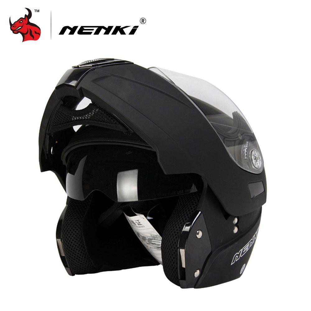 NENKI Motorrad Integralhelm Sichere Flip Up Motorrad Helm Mit Innensonnenblende Schwarz Motorrad Racing Off Road Helm